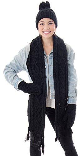 Women's Winter Warm Cable Knit 3 Piece Fleece Hat, Scarf & Glove Set,Black (3 Piece Winter Gloves)