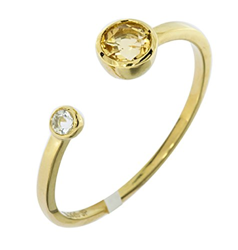 Genuine Round Shaped Citrine Gemstone Accented 14K Yellow Gold Plated Solid Sterling Silver Ring-Size 6.5 (DZSQ-C)