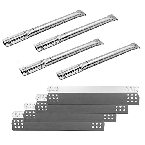 Uniflasy (4-Pack Gas Grill Stainless Steel Burners & Heat Plates Replacement Parts for Master Forge...