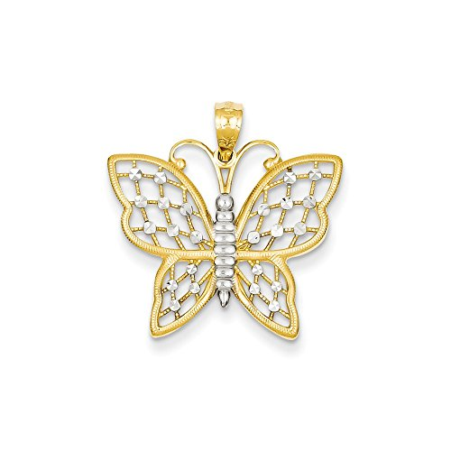 (14K Tri-Color Gold Butterfly Charm Pendant)