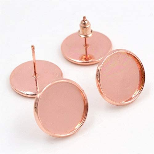 Amazon.com: Triangle-Box - 14mm 16mm 18mm 20mm 20pcs 11 Colors Plated Stainless Steel Earring Studs, Earrings Blank/Base, Earring Setting;Earring Bezels - Rose Gold - 16mm 20pcs