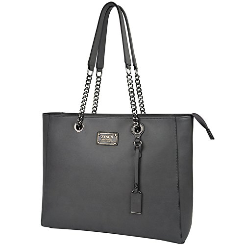 Laptop Tote,15.6 in Top Zip Large Laptop Bag PU Leather Multi-Function Shoulder Bag with Sturdy Lengthen Chain-Link Straps for Women