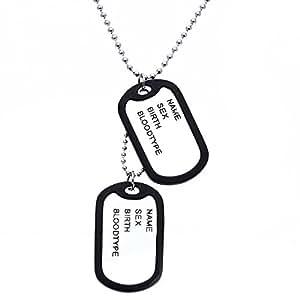 floveme Ejército Nombre etiquetas de perro colgante collar cadena enlace de aleación de men Jewelry Chic Blanco