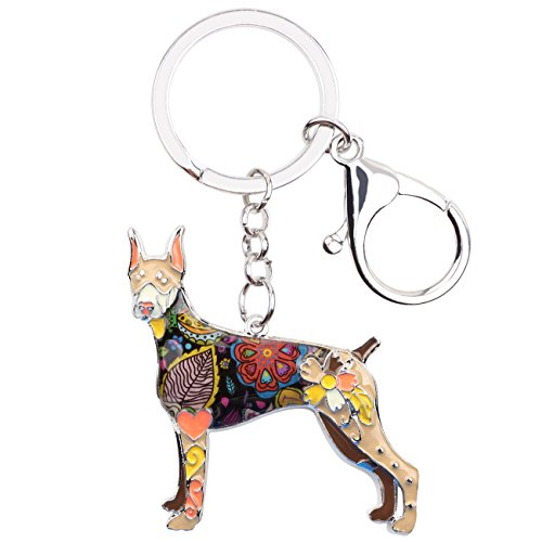 Bonsny Enamel Alloy Doberman Dog Key Chains For Women Gifts Car Purse Handbag Charms Jewelry (Brown)