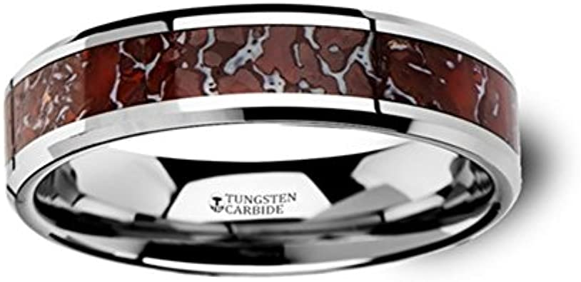 Thorsten Jurassic Red and Grey Earthtones Dinosaur Bone Inlay on Tungsten Carbide Wedding Band Beveled Edged Ring 8mm from Roy Rose Jewelry