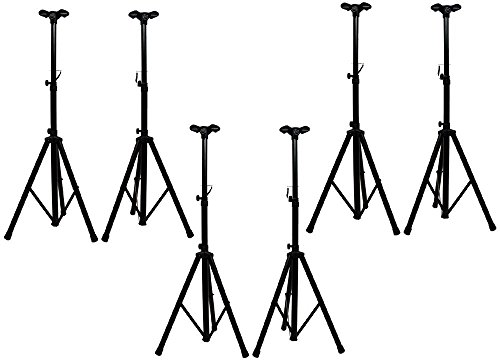 ASC (6) Pro Audio Mobile DJ PA Speaker Stands 6 Foot Adjustable Height Tripod with (6) Adapter Brackets by American Sound Connection