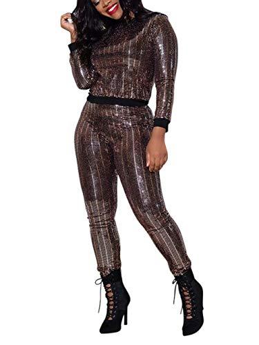 Women 2 Piece Jumpsuit Clubwear Sequins Crop Top Pants Set Sweatsuit Tracksuit Brown 2XL