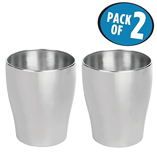 mDesign Round Metal Small Trash Can Wastebasket, Garbage Container Bin for Bathrooms, Powder Rooms, Kitchens, Home Offices - Pack of 2, Durable Stainless Steel with Brushed Finish