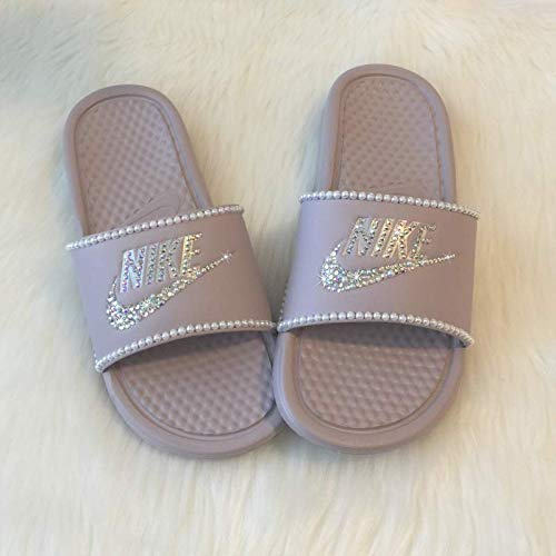 9a82ed32e795fc Amazon.com  Nike Slides with Pearls and Bling Slip On Shoes For Women Rose  Color NIKE Benassi JDI Slides with Crystals Custom Glitter Kicks  Handmade