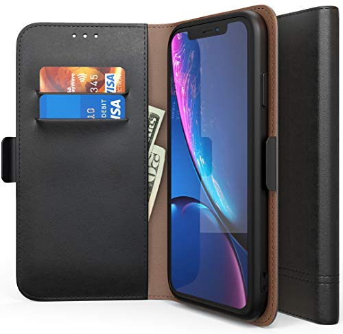 Nuvavo iPhone XR Wallet Case - Premium Leather Wallet Case with ID Card Holder Flip Magnetic Closure Cover for Apple iPhone XR Cell Phone Built in Kickstand Black