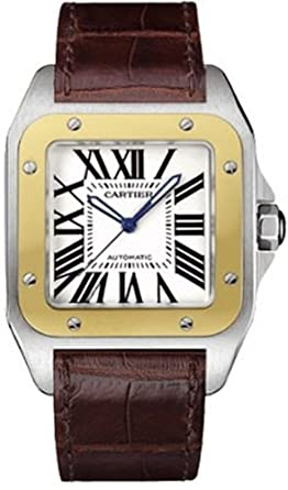 037d094b6aad3 Cartier Men's W20072X7 Santos 100 XL Automatic Yellow Gold Stainless Steel  and Leather Watch
