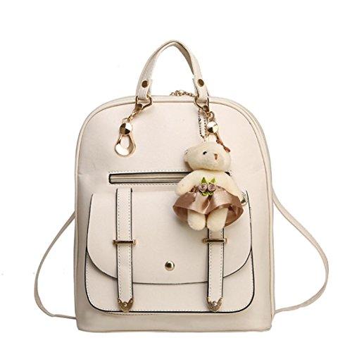 Women Handbag, Hunzed Girl School Leather Shoulder Bag Backpack Women Crossbody Bag Travel Rucksack Purse (Beige) by Hunzed (Image #2)