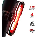 DON PEREGRINO 110 Lumens High Brightness Rear Bike Light, Powerful LED Bicycle Tail Light USB Rechargeable for Cycling Safety