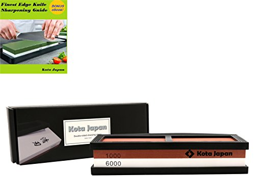 Kota Japan # 1000-6000 Grit Premium Whetstone. Knife Sharpening Stone VALUE BUNDLE Kit. ENJOYABLE, Smooth, EFFORTLESS. NO-SLIP Base, Utmost SAFETY, Superior QUALITY,, Perfect GIFT!!