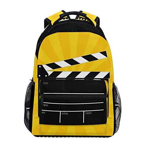 Movie Clapboard School Backpack Large Capacity Canvas Rucksack Satchel Casual Travel Daypack for Adult Teen Women Men Children