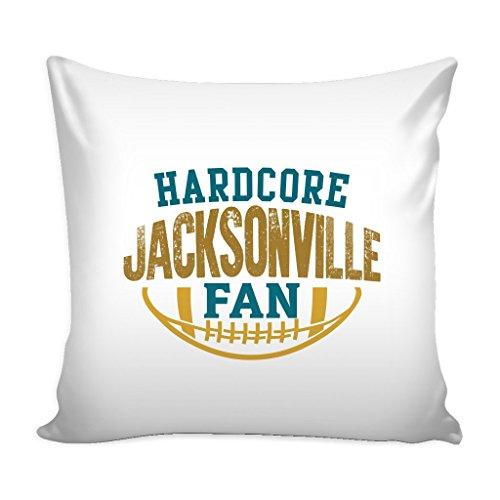 Hardcore Jacksonville Football Fan Throw Pillow Sham Cover (White)