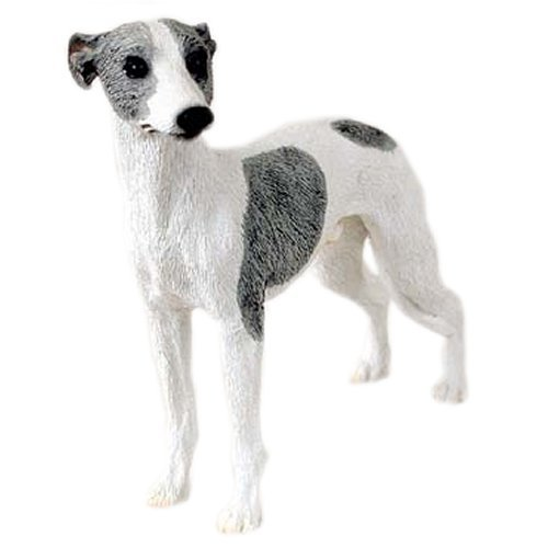 Grey & White Whippet Figurine
