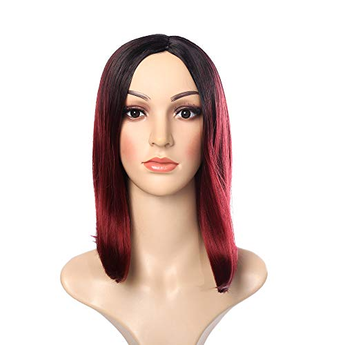 Clement Attlee Women's Wig Black Pink Gradient Hair Straight Bob Wigs Synthetic Short Hair for Daily -