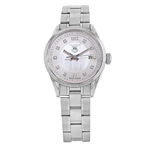 TAG Heuer Women's WV1417.BA0793 Carrera Diamond Pink Mother-of-Pearl Dial Watch (Pink Tag Watch)