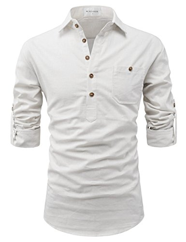NEARKIN (NKNKN450 Adorable Mens Roll-Up Sleeve Design Urbane Casual Cotton Shirts Ivory US L(Tag Size ()