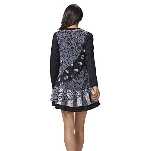 Sybell de New Mode Womens Jeux grand public lâche manches longues noir sexy Mini-robe automne PD-1608024