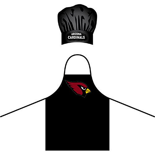 Wirezoll NFL Arizona Cardinals Chef Hat and Apron Set, Black, One (Arizona Cardinals Nfl Set)