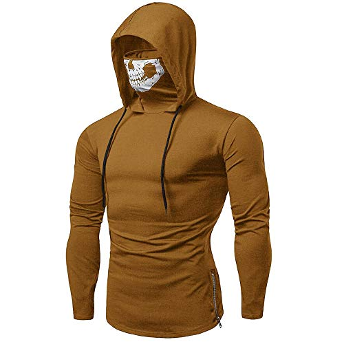 Hoodies for Mens, FORUU St. Patrick's Day Clover Sales 2018 Under 10 Valentine's Day Best Gift for Boyfriend Mask Skull Pure Color Pullover Long Sleeve Hooded Sweatshirt Tops Blouse