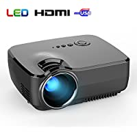 BYINTEK New Model GP70 Mini TFT LCD Projector 800x480 1800 lumens HDMI USB ATV for Home Cinema Theater TV Laptop Game SD iPad iPhone Android Smartphone-White