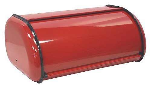 ZUCCOR Fingerprint-Proof Powder Coated Steel Bread Box (MILANO RED)