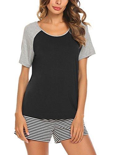 MAXMODA Women's Lounge Shirt and Short Pajama Sleepwear Set Loungewear Black S