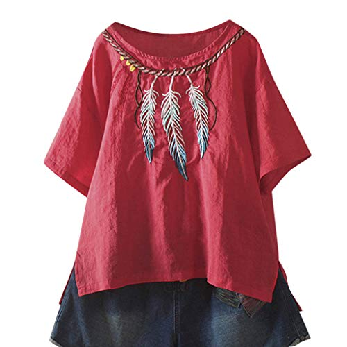 Witspace Women Ladies Embroidery Short Sleeve Round Neck Blouse T-Shirt
