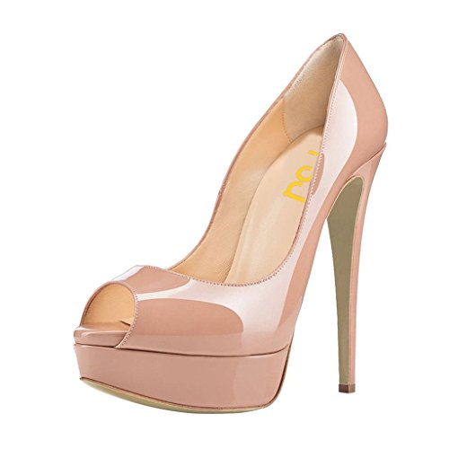 FSJ Sexy Peep Toe Platform Pumps Stilettos High Heels for Women Prom Shoes Nude Leather Size 4