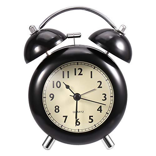 Analog Alarm Clock - Loud Alarm Clock Heavy Sleepers | Old Fashion, Twin Bell, Non Ticking, Night Light, Battery Operated Manual Alarm Clock (Black)
