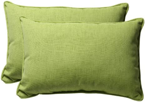 Pillow Perfect Outdoor Indoor Baja Linen Lime Oversized Lumbar Pillows, 24.5 x 16.5 , Green, 2 Pack