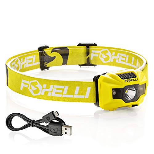 - Foxelli USB Rechargeable Headlamp Flashlight - 180 Lumen, up to 40 Hours of Constant Light on a Single Charge, Bright White Led + Red Light, Compact, Easy to Use, Lightweight & Comfortable Headlight