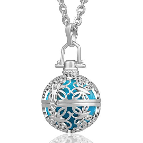 AEONSLOVE Silver Retro Chime Bell Harmony Ball Necklace Cage Pendant for Women, 30'' Long Chain (Sky Blue) ()