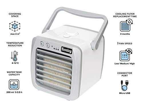 Kenley Portable Air Conditioner – Personal Mini AC Cooling Fan for Office Desk, Night Stand, Dorm Room, Bedroom, Camping – Small & Quiet USB Desktop 3-in-1 Cooler Humidifier Purifier