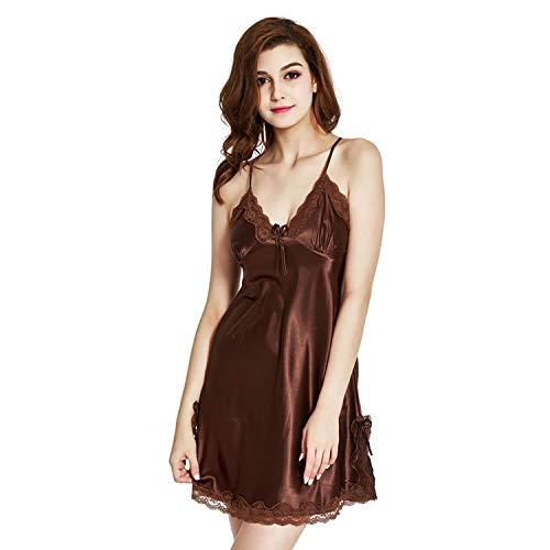 Beautymade Sleepwear Pyjamas Women Nightgowns Lace Robe V-Neck Nightgown Silk Satin Night Dress Sexy Lingerie Women