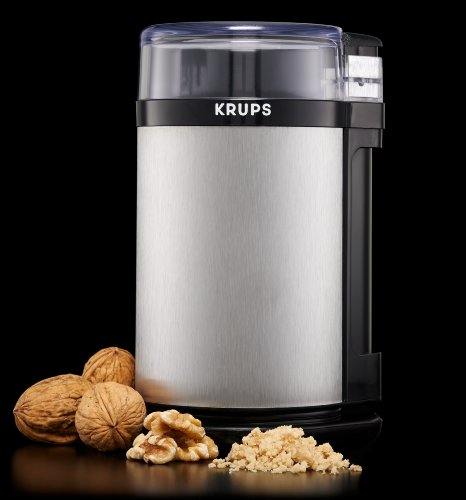 KRUPS-GX4100-Electric-Spice-Herbs-and-Coffee-Grinder-with-Stainless-Steel-Blades-and-Housing-3-Ounce-Gray