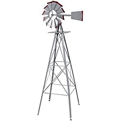 Ornamental Windmill Windspinner 8FT Tall Wind Wheel Outdoor Patio Garden Yard Backyard Deck Furniture Décor Heavy Duty Steel Weather Vane Durable Wind Spinner Wheel Turns Quietly Effortlessly