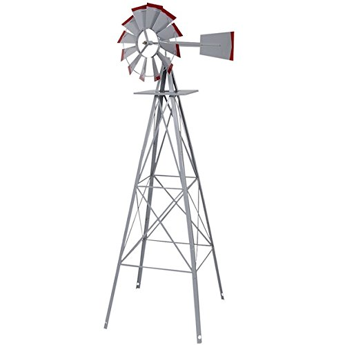 Silver Patina Door Accessories (Ornamental Windmill Windspinner 8FT Tall Wind Wheel Outdoor Patio Garden Yard Backyard Deck Furniture Décor Heavy Duty Steel Weather Vane Durable Wind Spinner Wheel Turns Quietly Effortlessly)