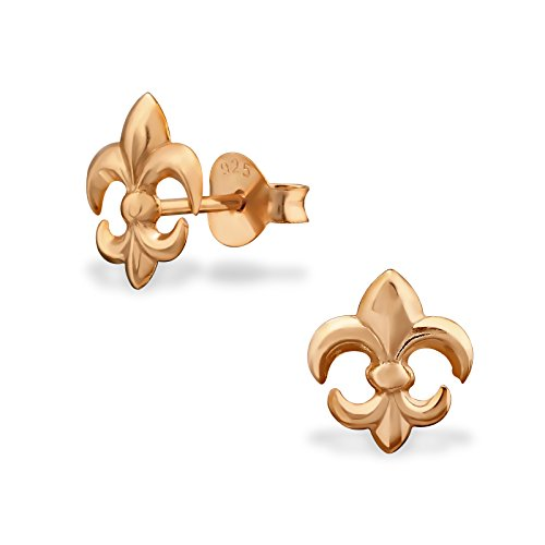 Sterling Silver Rose Gold Clad Fleur De Lis' Wholesale Stud Earrings Set With Gift Box