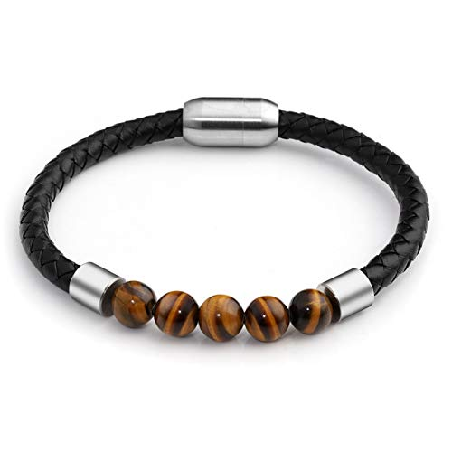 Leather Tigers (Sunligoo Mens Genuine Leather Bracelet Tiger Eye Stone Healing Crystal Reiki Gemstone Beads Bracelets with Magnetic Clasp 8.3 Inches)
