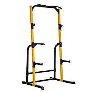 DOIT Power Rack Cage, Adjustable with J-Hooks Power Rack Squat Stand for Barbell Crossfit & Weightlifting, Pull Up Bar,Barbell Holder,800LBS Weight Capacity