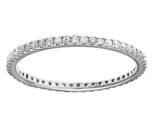White Gold Eternity Prong (10k White Gold Eternity Diamond Wedding Band (1/3 cttw, I-J Color, I2-I3 Clarity))