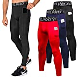Lavento Men's Compression Pants Baselayer Cool Dry Pocket Running Ankle Leggings Active Tights (3 Pack-3911 Black/Navy Blue/Red,Medium)