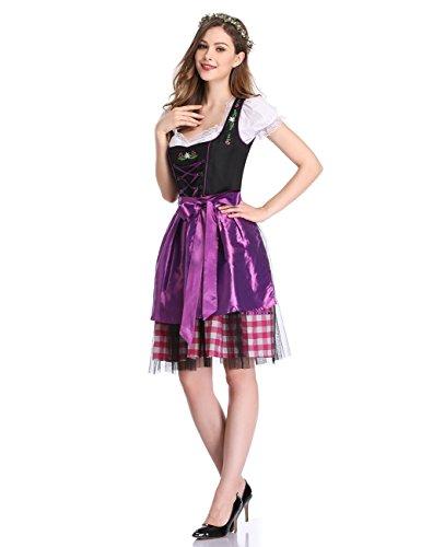 Oktoberfest 42 Bavarese Tradizionale Pezzi Formato Ricamo Zantec 34 Grembiule 3 Dirndl Nero con Elegante Costume Donna Donna Abito Squisito Camicetta Viola dqpUxP