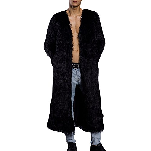 LIYT Men's Fashion Warm Winter Long Faux Fur Coat Overcoat