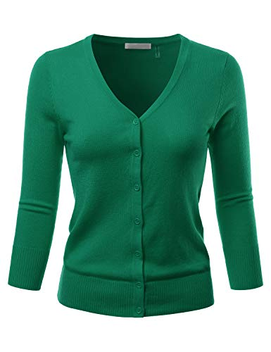 (EIMIN Women's 3/4 Sleeve V-Neck Button Down Stretch Knit Cardigan Sweater KellyGreen)