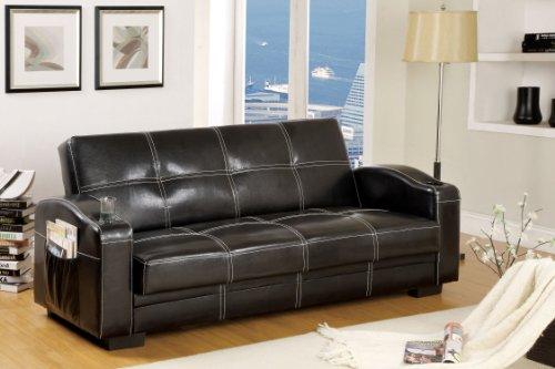 Furniture of America Nelphine Leatherette Futon Sofa, Black Finish